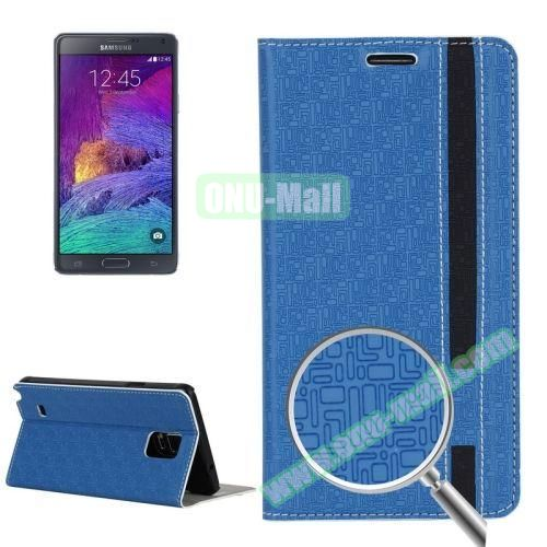 Maze Pattern Flip Stand Leather Case for Samsung Galaxy Note 4 with Card Slots (Blue)