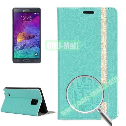 Maze Pattern Flip Stand Leather Case for Samsung Galaxy Note 4 with Card Slots (Mint Green)