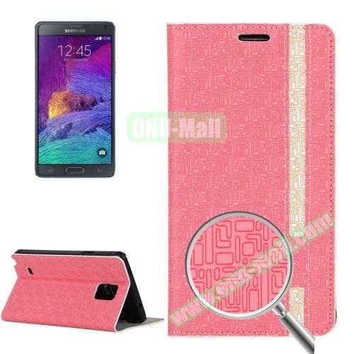 Maze Pattern Flip Stand Leather Case for Samsung Galaxy Note 4 with Card Slots (Pink)