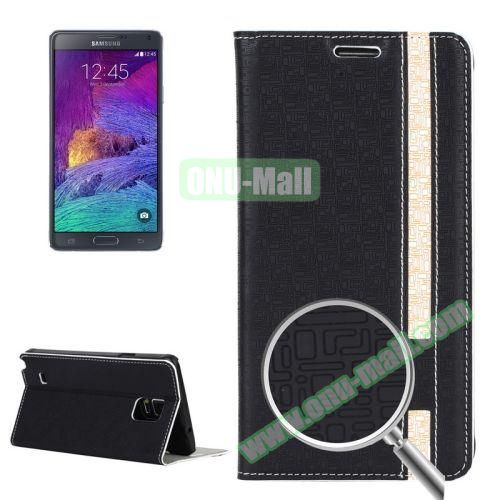 Maze Pattern Flip Stand Leather Case for Samsung Galaxy Note 4 with Card Slots (Black)