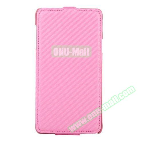 Carbon Fiber Texture Vertical Flip Leather Case for Samsung Galaxy Note 4 (Pink)