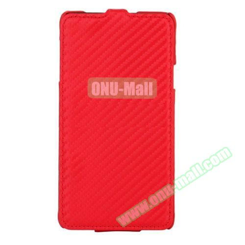 Carbon Fiber Texture Vertical Flip Leather Case for Samsung Galaxy Note 4 (Red)