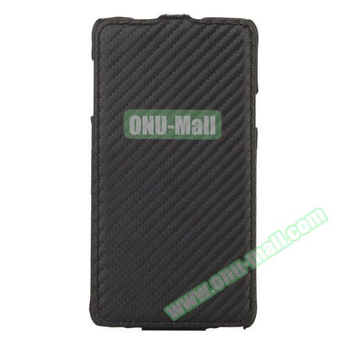 Carbon Fiber Texture Vertical Flip Leather Case for Samsung Galaxy Note 4 (Black)