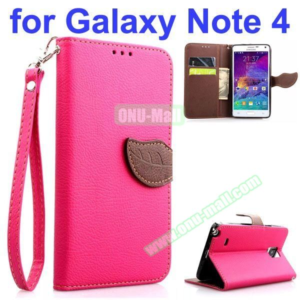 Leaf Magnetic Closure Flip Leather Case for Samsung Galaxy Note 4 with Touch Pen, Card Slots, Chaining and Stander (Pink)