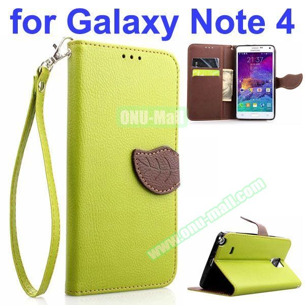 Leaf Magnetic Closure Flip Leather Case for Samsung Galaxy Note 4 with Touch Pen, Card Slots, Chaining and Stander (Green)