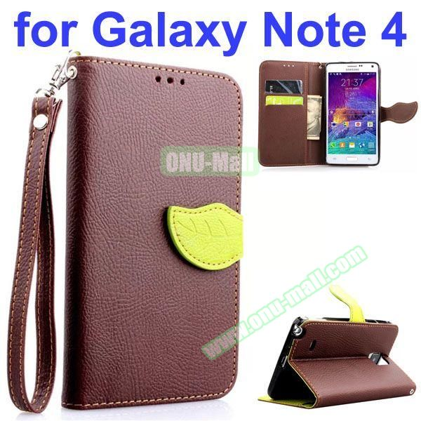 Leaf Magnetic Closure Flip Leather Case for Samsung Galaxy Note 4 with Touch Pen, Card Slots, Chaining and Stander (Brown)