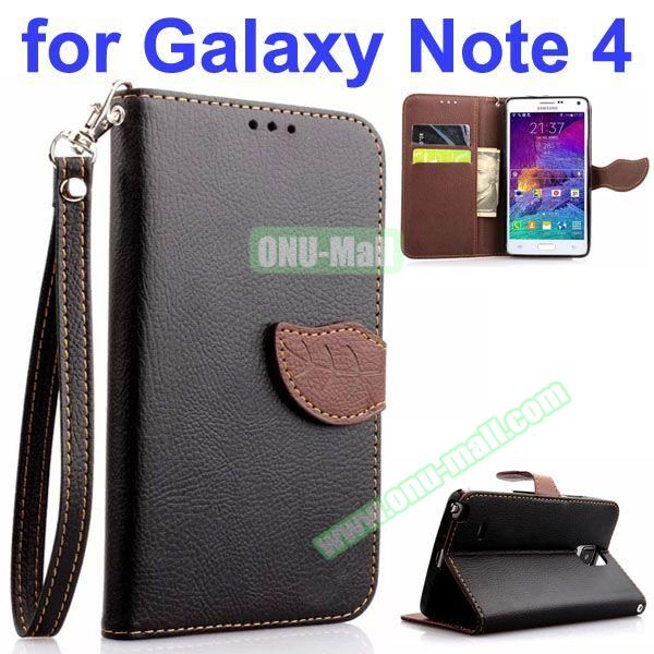 Leaf Magnetic Closure Flip Leather Case for Samsung Galaxy Note 4 with Touch Pen, Card Slots, Chaining and Stander (Black)
