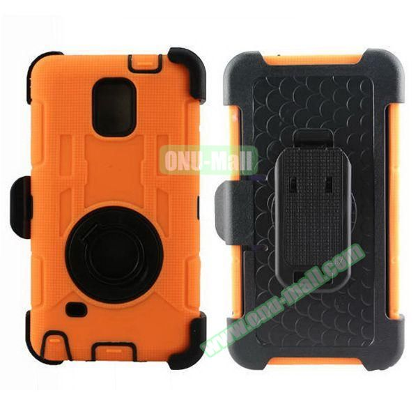 Hybrid Rubber Huged TPE and PC Defender Case for Samsung Galaxy Note 4 with Rotating Ring and Belt Clip (Orange)