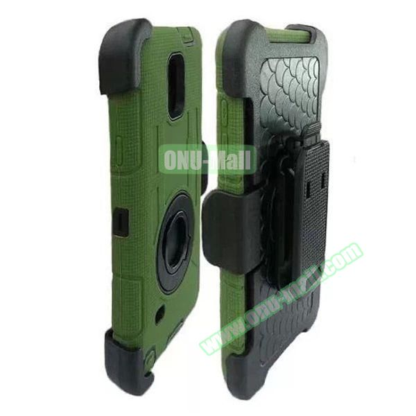Hybrid Rubber Huged TPE and PC Defender Case for Samsung Galaxy Note 4 with Rotating Ring and Belt Clip (Tarmac)