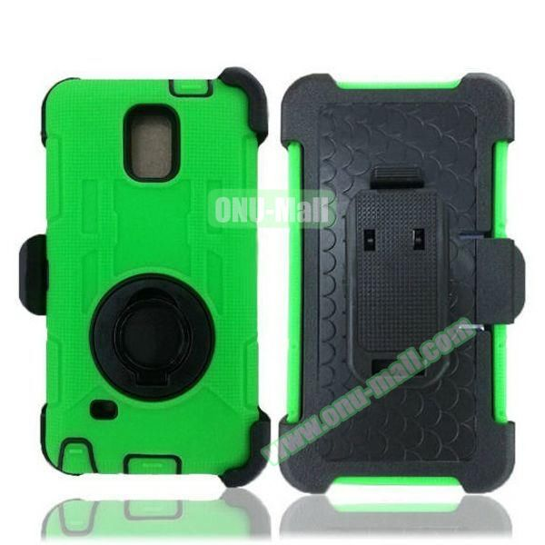 Hybrid Rubber Huged TPE and PC Defender Case for Samsung Galaxy Note 4 with Rotating Ring and Belt Clip (Green)