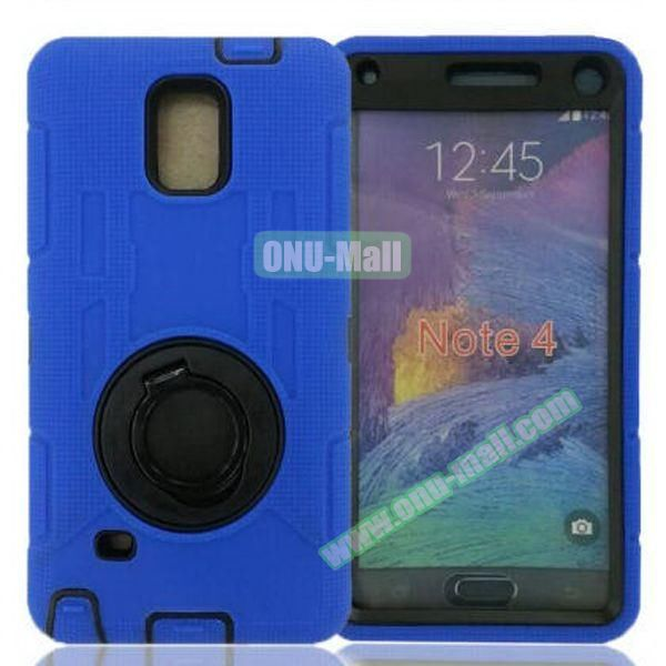 Hybrid Rubber Huged TPE and PC Defender Case for Samsung Galaxy Note 4 with Rotating Ring and Belt Clip (Blue)