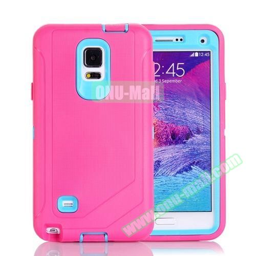 Hybrid TPU and PC Protective Combination Case for Samsung Galaxy Note 4 (Rose+Light Blue)