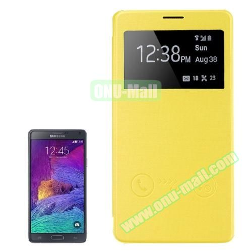 Horizontal Flip Leather Case for Samsung Galaxy Note 4 with Call ID Display Window (Yellow)