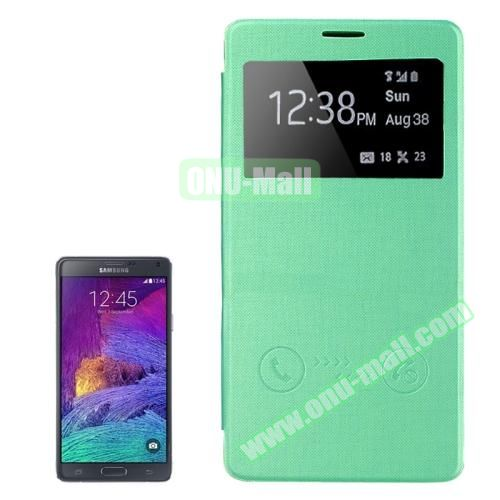 Horizontal Flip Leather Case for Samsung Galaxy Note 4 with Call ID Display Window (Green)