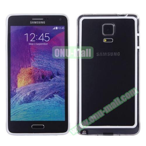 Transparent Plastic + TPU Frame Case for Samsung Galaxy Note 4 (Black+White)