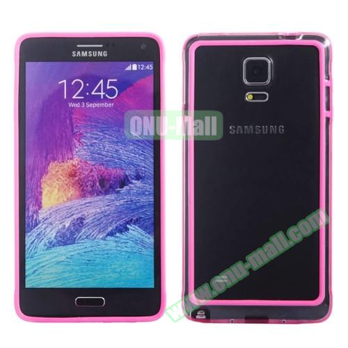 Transparent Plastic + TPU Frame Case for Samsung Galaxy Note 4 (Black+Pink)