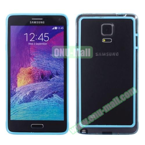 Transparent Plastic + TPU Frame Case for Samsung Galaxy Note 4 (Black+Light Blue)