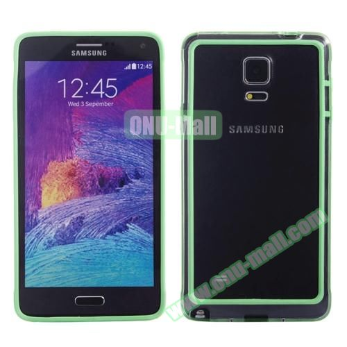 Transparent Plastic + TPU Frame Case for Samsung Galaxy Note 4 (Black+Green)