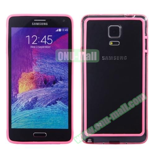 Transparent Plastic + TPU Frame Case for Samsung Galaxy Note 4 (Black+Rose)