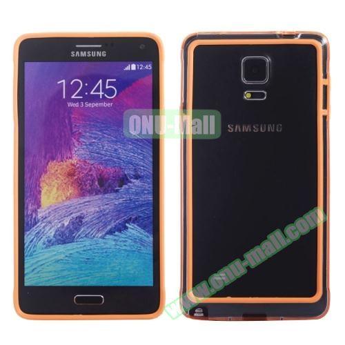 Transparent Plastic + TPU Frame Case for Samsung Galaxy Note 4 (Black+Orange)