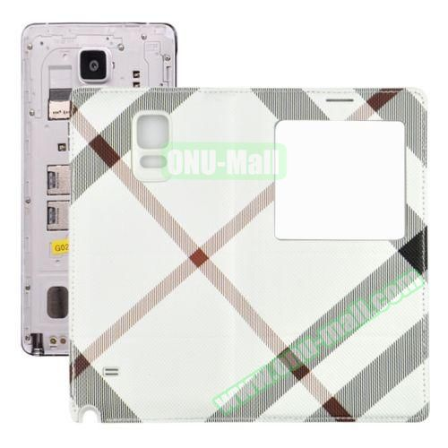 Fabric Texture Flip Leather Back Replacement Battery Case for Samsung Galaxy Note 4 (White)