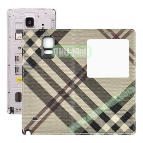 Fabric Texture Flip Leather Back Replacement Battery Case for Samsung Galaxy Note 4 (Brown)