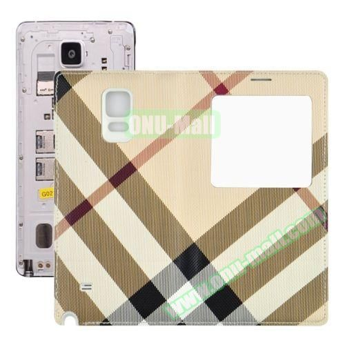 Fabric Texture Flip Leather Back Replacement Battery Case for Samsung Galaxy Note 4 (Khaki)