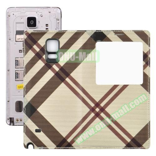 Fabric Texture Flip Leather Back Replacement Battery Case for Samsung Galaxy Note 4 (Coffee)