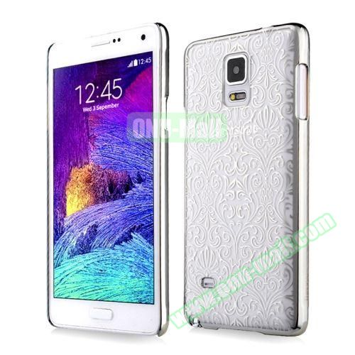 Baseus Royal Style European Code Rose Pattern Silver Hard Case for Samsung Galaxy Note 4 (European Code Rose Pattern Silver)