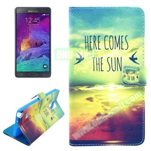 Wallet Style TPU and PU Leather Case for Samsung Galaxy Note 4 N910 (Sunshine Pattern)
