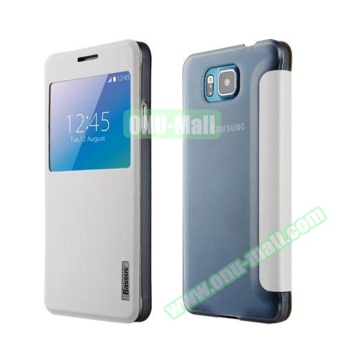 Solid Color Leather Case for Samsung Galaxy Alpha (White)