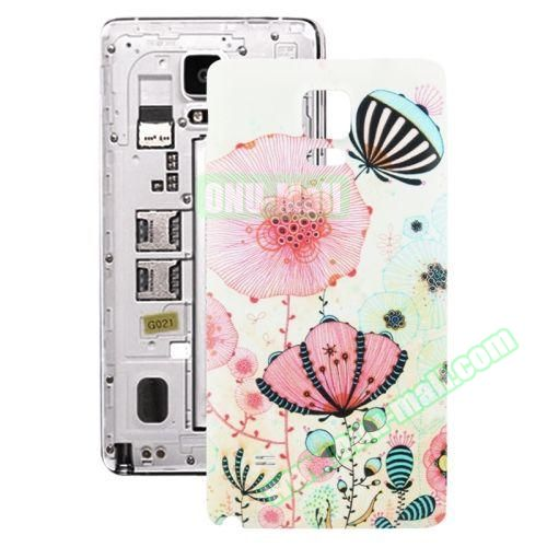 Personalized Design 3D Printing Back Cover Replacement for Samsung Galaxy Note 4 (Butterfly and Flower)