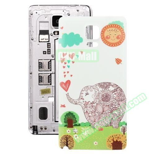 Personalized Design 3D Printing Back Cover Replacement for Samsung Galaxy Note 4 (Flower Elephant)