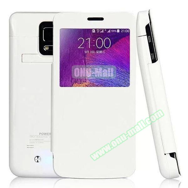 Leather Flip 4800mAh External Battery Charging Case for Samsung Galaxy Note 4 (White)