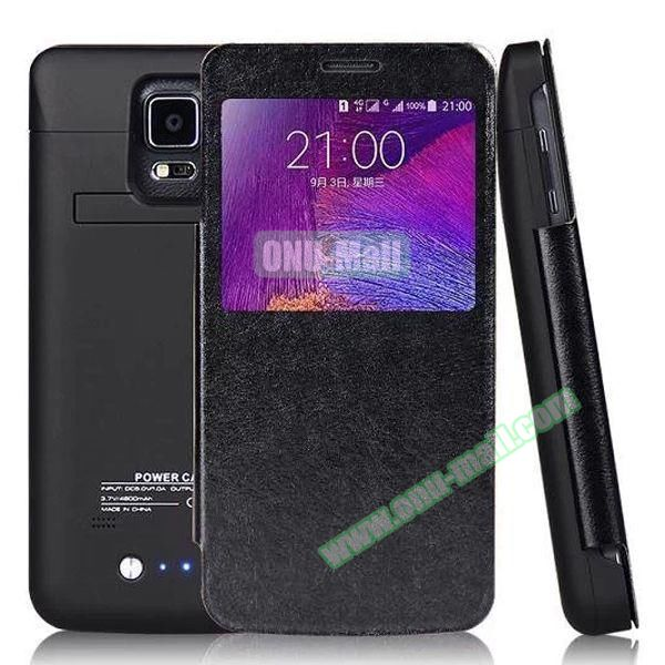 Leather Flip 4800mAh External Battery Charging Case for Samsung Galaxy Note 4 (Black)