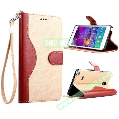 Lace Texture Flip Leather Case for Samsung Galaxy Note 4 with Card Slots and Hand Strap (Beige)