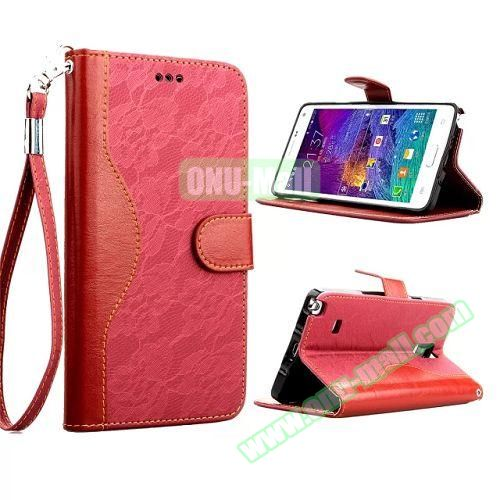 Lace Texture Flip Leather Case for Samsung Galaxy Note 4 with Card Slots and Hand Strap (Red)