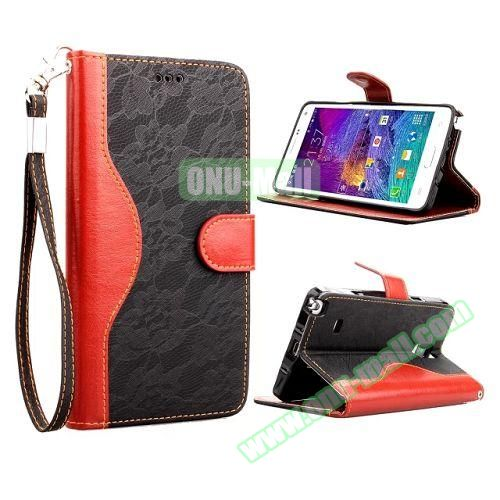 Lace Texture Flip Leather Case for Samsung Galaxy Note 4 with Card Slots and Hand Strap (Black)