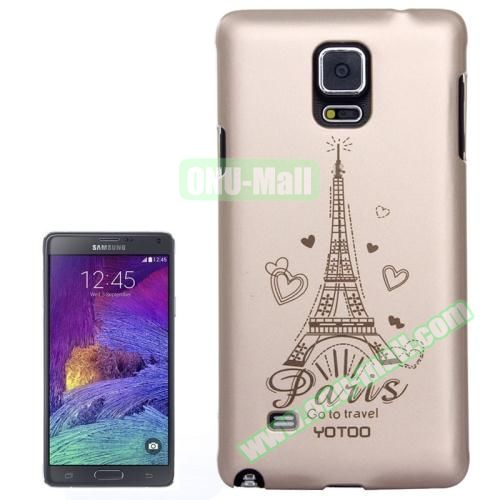 Personalized Gold Hard Back Cover for Samsung Galaxy Note 4 (Eiffel Tower)