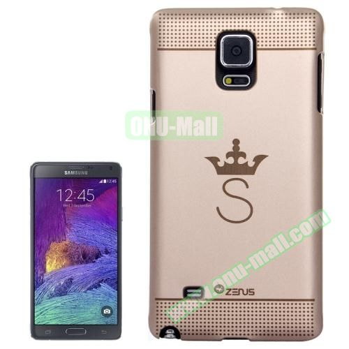Personalized Gold Hard Back Cover for Samsung Galaxy Note 4 (Crown Pattern)