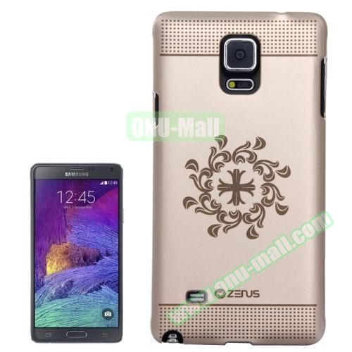 Personalized Gold Hard Back Cover for Samsung Galaxy Note 4 (Cross Pattern)