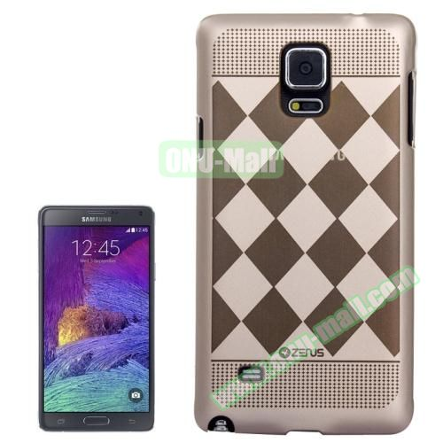 Personalized Gold Hard Back Cover for Samsung Galaxy Note 4 (Grid Pattern)