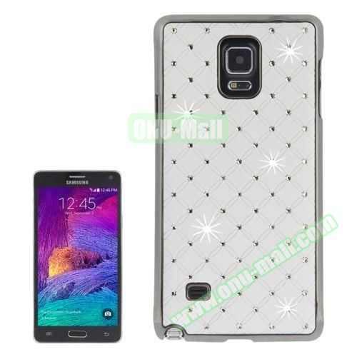 Bling Diamond Stars Skinning Plastic Case for Samsung Galaxy Note 4 (White)