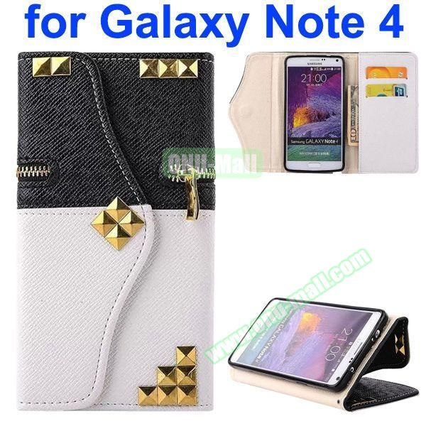 Wallet Style Rivet Pattern Leather Case for Samsung Galaxy Note 4 with Zipper and Card Slots (White Bottom)