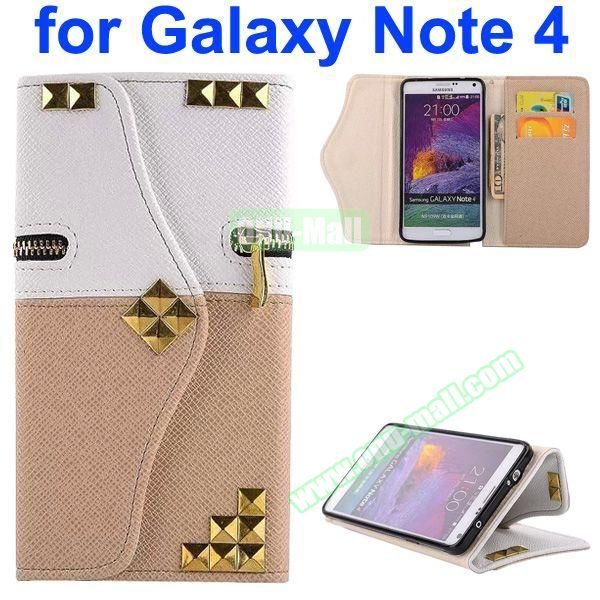 Wallet Style Rivet Pattern Leather Case for Samsung Galaxy Note 4 with Zipper and Card Slots (Beige Bottom)