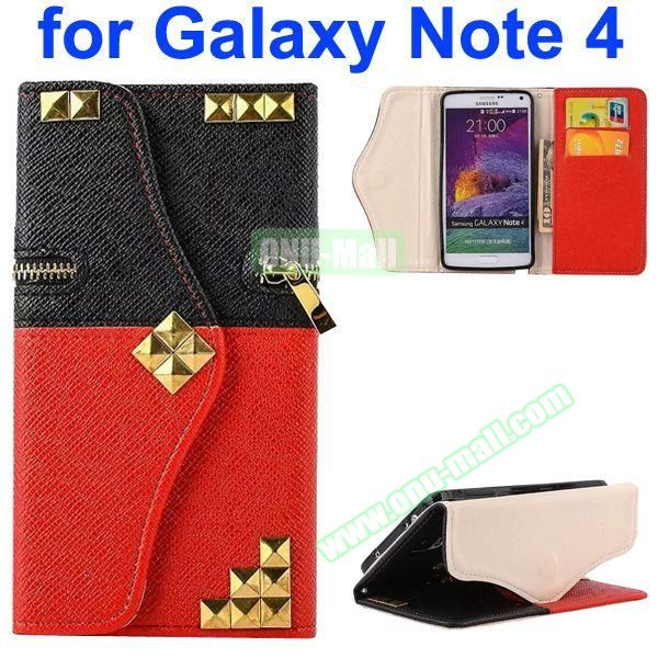 Wallet Style Rivet Pattern Leather Case for Samsung Galaxy Note 4 with Zipper and Card Slots (Red Bottom)