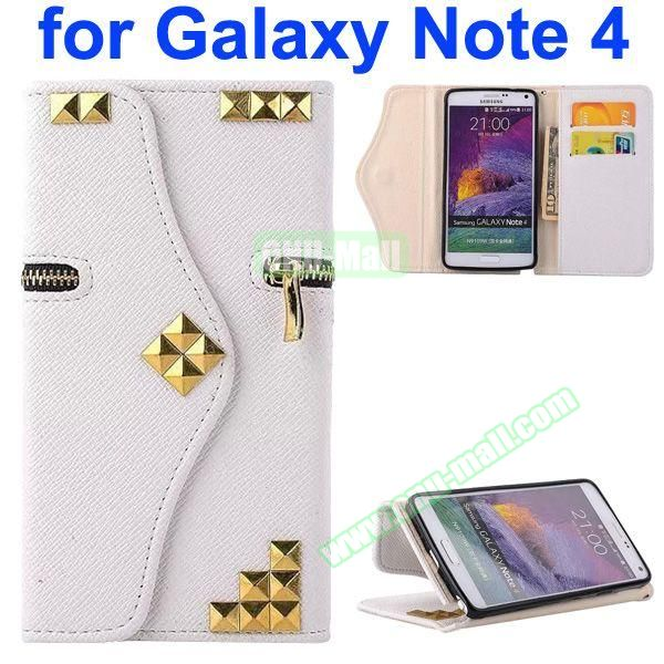 Wallet Style Rivet Pattern Leather Case for Samsung Galaxy Note 4 with Zipper and Card Slots (White)