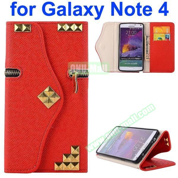 Wallet Style Rivet Pattern Leather Case for Samsung Galaxy Note 4 with Zipper and Card Slots (Red)