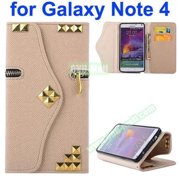 Wallet Style Rivet Pattern Leather Case for Samsung Galaxy Note 4 with Zipper and Card Slots (Beige)