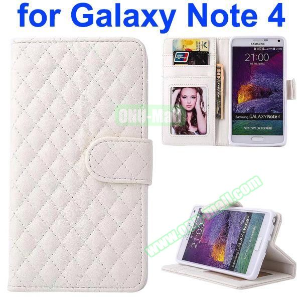 Grid Pattern Flip Lambskin Leather Case for Samsung Galaxy Note 4 with Card Slots and Photo Slots (White)
